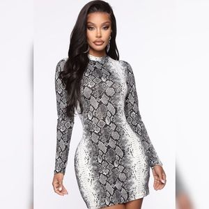 Long sleeve snake print mini dress